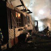 Riedhütte in Hard in Flammen