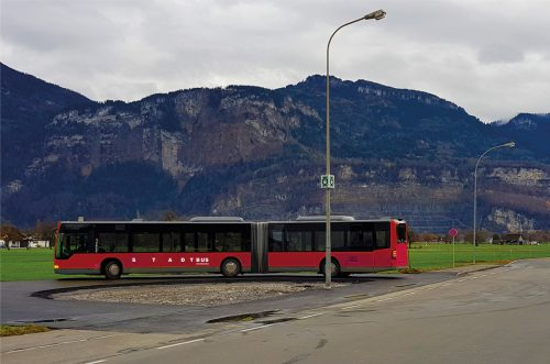 Auf der Linie 1 kommen Gelenkbusse mit Komfortzonen zum Einsatz. Stadt Dornbirn
