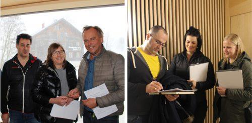 Bauleiter Werner Bischof und Günter Morscher übergeben Maria Luise Österle die Schlüssel, Judith Steurer und Stephanie Bals übernehmen diese von Valon Hasani.Strauss