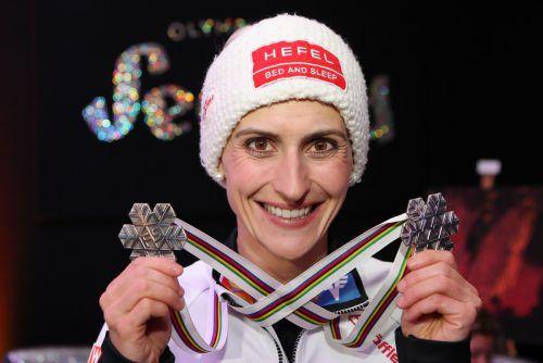 Bei der Heim-WM in Seefeld holte Eva Pinkelnig zwei Silberne. GEPA