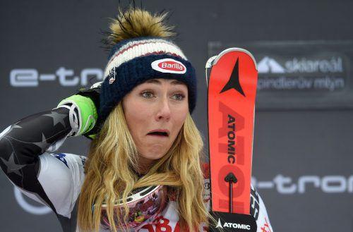 Da staunte selbst Mikaela Shiffrin: Die US-Amerikanerin sicherte sich in Spindleruv Mlyn Saisonsieg Nummer 15.AFP