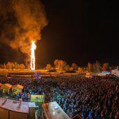 Lustenauer Rekordfunken brannte vor über 10.000 Schaulustigen lichterloh