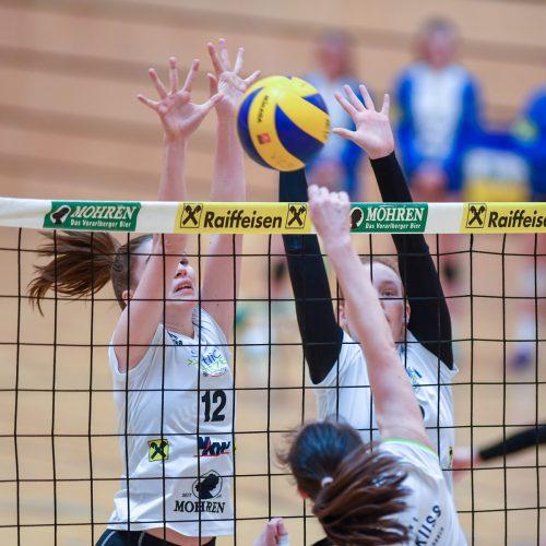Mira Fiel (l.) und Eva Stockklauser feierten im Dornbirn-Trikot gegen Oberndorf den ersten Saisonsieg.VN/Lerch