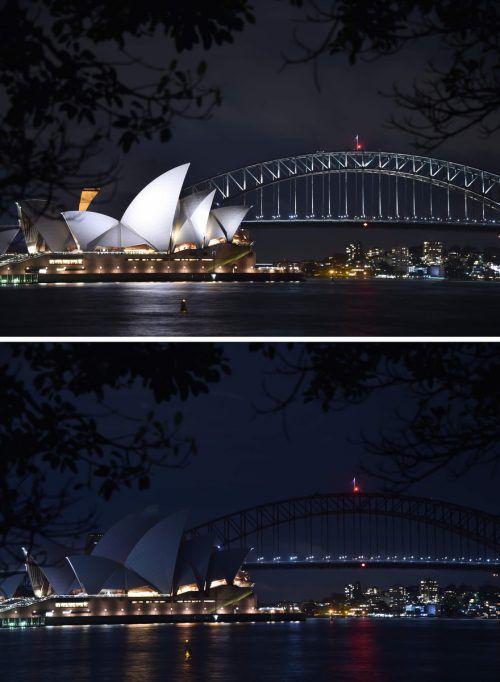"""Die """"Earth Hour"""" hatte ihren Ursprung in Australien. 2018 beteiligte sich das berühmte Opernhaus von Sydney an der Aktion und ließ die Lichter ausgehen. AFP"""