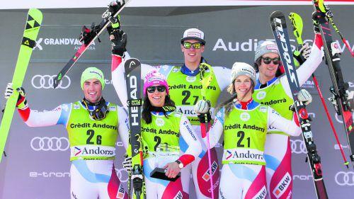 Die Schweizer sind aktuell im Teambewerb unschlagbar: Daniel Yule, Wendy Holdener, Ramon Zenhaeusern, Aline Danioth und Sandro Simonet.gepa
