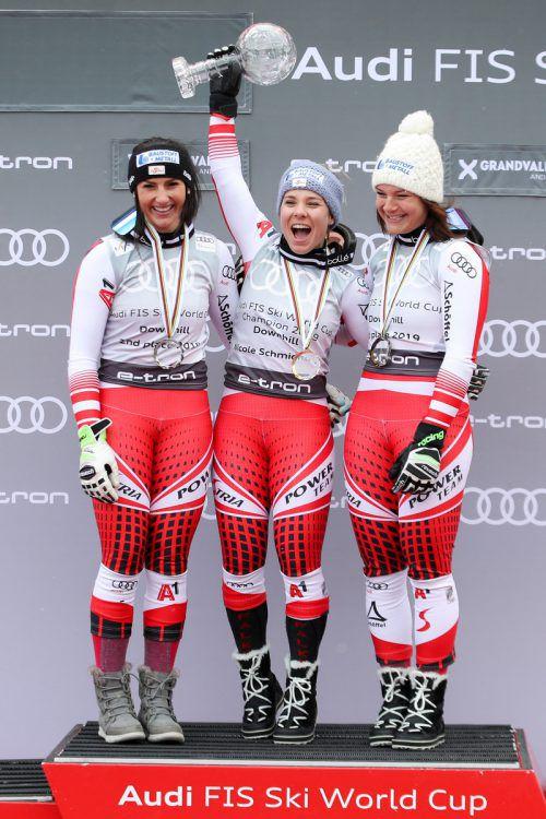 Ein österreichisches Dreimäderlhaus jubelt in der Abfahrtswertung: Stephanie Venier, Nicole Schmidhofer und Ramona Siebenhofergepa
