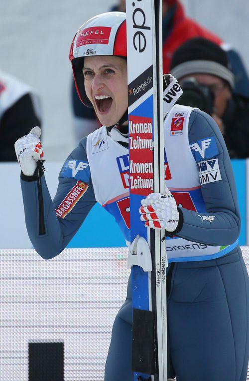 Eva Pinkelnig durfte sich über ihre erfolgreichste Weltcup-Saison freuen.GEPA
