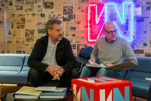 Franz Karl Meusburger und Josef Häusle (v.l.) zerpflücken das vorliegende Rhesi-Projekt. Sie erheben auch Vorwürfe. VN/Paulitsch