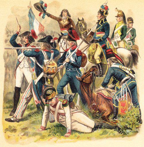 Französische Militäruniformen aus der Zeit der Französischen Revolution.fotolia/hein nouwens