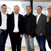 """<p class=""""caption"""">Gastgeber-Quintett: Michael Werner (Rechberger), Michael Zuvanovic (Morandell), Roland Kuster (Amann/Stoll), Ensed Perviz (Rauch) und Didi Eisenhofer (Freihof). Franc</p>"""