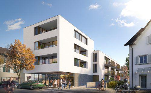 Mitten in Dornbirn entsteht das von Dietrich Untertrifaller geplante Wohnhaus mit Geschäftsfläche. FA