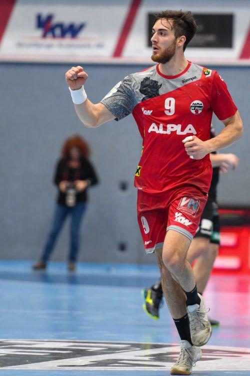 Rückraum-Spieler Boris Zivkovic konnte beim Heimsieg gegen Graz insgesamt sechsmal einnetzten.GEPA