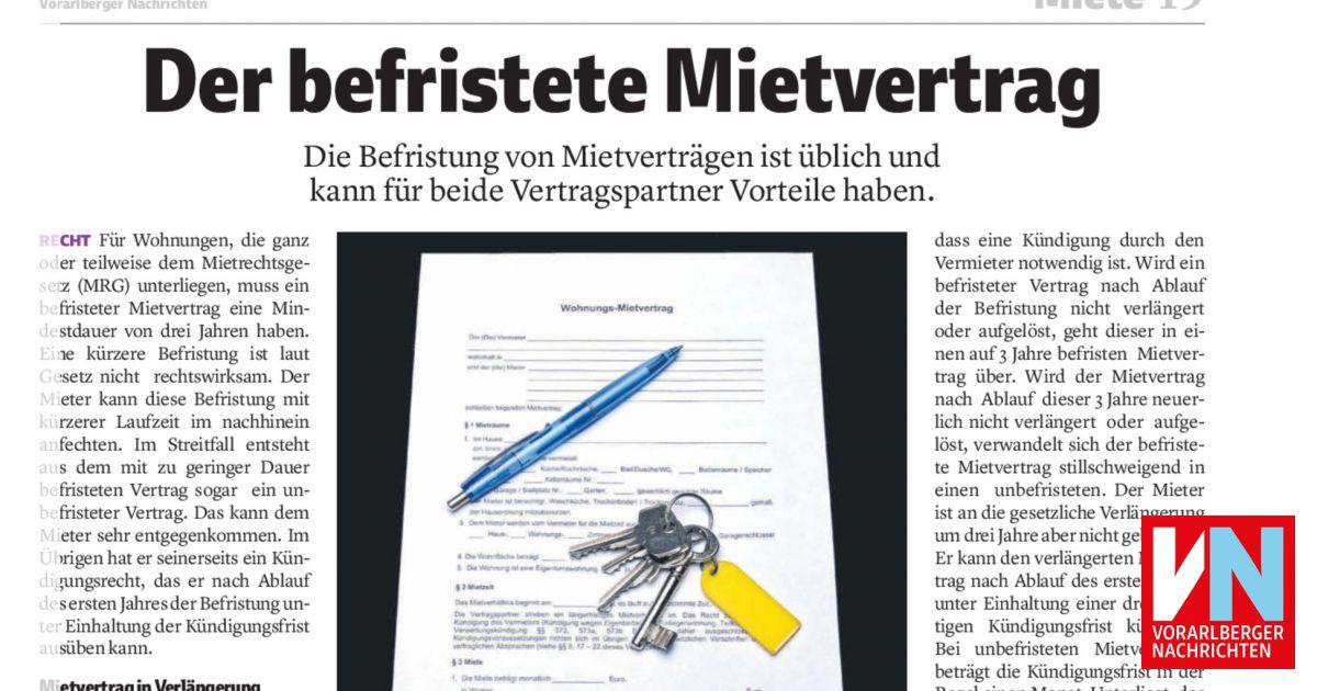 Der Befristete Mietvertrag Vorarlberger Nachrichten Vnat
