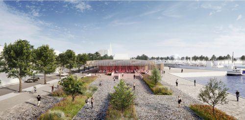 """So sieht eine Vision für das Harder Seeufer aus. """"Das städtebauliche Leitbild ist der Rahmen für eine zukünftige Entwicklung"""", sagt der Bürgermeister. inventschmid.com"""