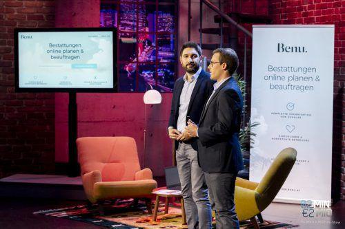 Stefan Atz und Alexander Burtscher stellten im TV ihr Unternehmen vor. Gerry Frank/Puls4