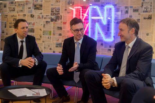 VN-Gäste: Peter Scherbaum, Alexander Adrian und Christian Fegg. VN/Paulitsch