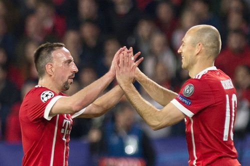 """Arjen Robben (r.) und Franck Ribéry á la """"Robbery"""" werden wohl nicht mehr zusammen ein Pflichtspiel bestreiten können.afp"""