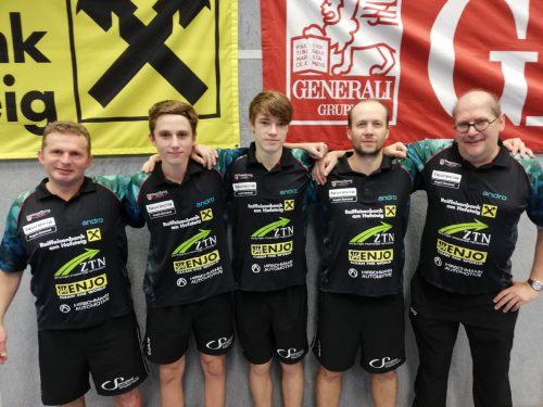 Das Kennelbacher Team (v. l.): Istvan Toth, Philipp Schwab, Maxime Dieudonné, Miro Sklansky und Coach Dietmar Müller.Verein
