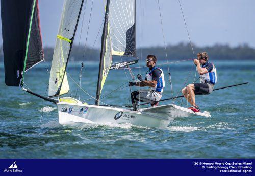 David Hussl (l.) und Benjamin Bildstein liegen derzeit auf dem 22. Gesamtrang.sailing energy