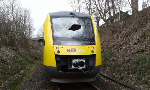 Der Zug ist gegen die Gullydeckel geprallt, dabei wurde die Frontscheibe beschädigt.