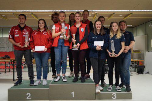 Die Top-3-Teams bei den Gewehrschützen (v. l.): USG Doren, Premierensieger USG Andelsbuch und der 2018-Champion USG Höchst.Verband