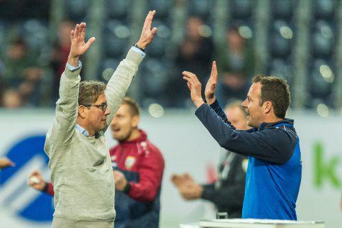 Durften berechtigterweise jubeln: SCRA-Coach Alex Pastoor (links) und sein Co Wolfgang Luisser.Stiplovsek