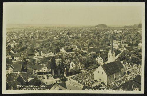 Ein Ballonaufnahme (vor 1936) der alten Pfarrkirche.