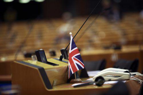 Eine Union-Jack-Flagge im Europäischen Parlament: Der Brexit will und will nicht kommen. AP