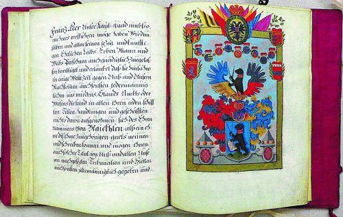 Auszug aus dem von Kaiser Karl VI. ausgestellten Adelsbrief aus dem Jahr 1722 für Franz Beer bzw. Franz von Bleichten nach der Alpe im Mellental. Privat