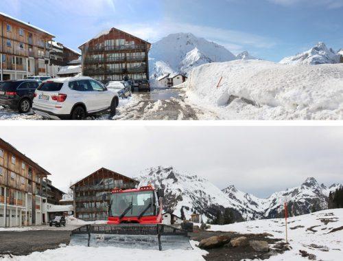 Frühlingserwachen auf Neßlegg – wo sich noch vor wenigen Tagen Schneeberge auf dem Areal türmten, haben Pistenraupen die Baustelle geräumt.