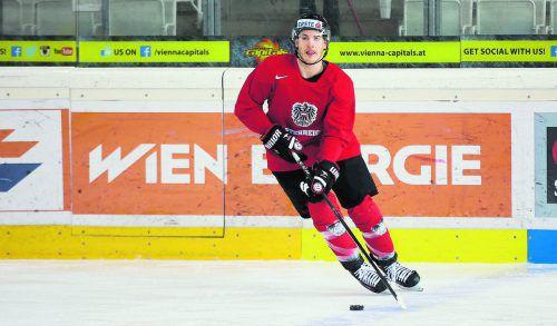Finnland ist Vergangenheit, die Zukunft die österreichische Nationalmannschaft: Eishockeystürmer Manuel Ganahl.gepa