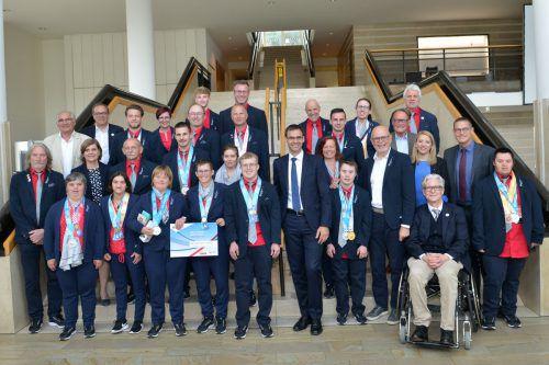 Für ihre Leistungen wurden die Special-Olympics-Summer-Games-Teilnehmer im Landhaus empfangen.Alexandra Serra