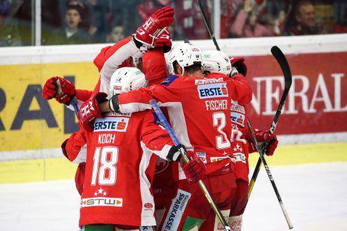 Jubel beim KAC, nach dem vierten Sieg über Graz steht man im Finale.gepa