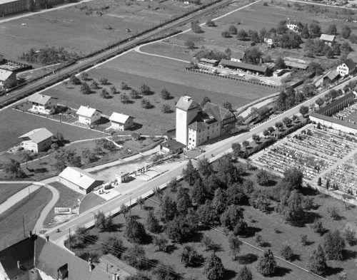 Luftaufnahme von der Gunz Mühle im Jahr 1959.