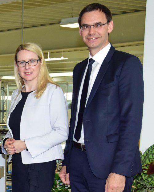 Ministerin Margarete Schramböck mit LH Markus Wallner.