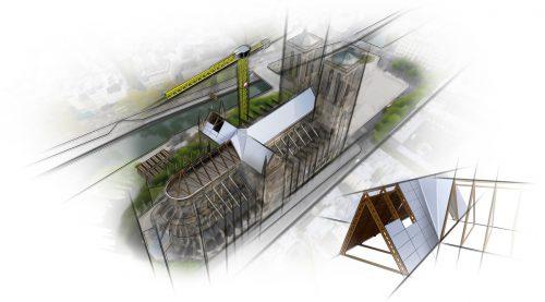 Mit vorgefertigten Fachwerk- und Holzrippenelementen kann die Kathedrale schnell mit einem neuen Dach ausgestattet werden.FA