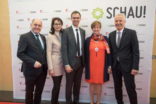 NR-Präsident Wolfgang Sobotka, Sonja und Landeshauptmann Markus Wallner, Messe-Geschäftsführerin Sabine Tichy-Treimel und Aufsichtsratsvorsitzender Otto-G. Mäser.