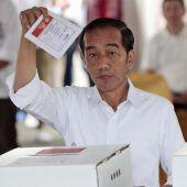 Präsident Widodo vor Wahlsieg in Indonesien