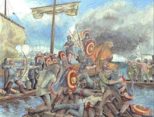 Seeschlacht zwischen Römern und Vindelikern 15. v. Chr., visualisiert von Roland Gäfgen. Unten: Hundeskulptur aus der Römerzeit. vorarlberg museum