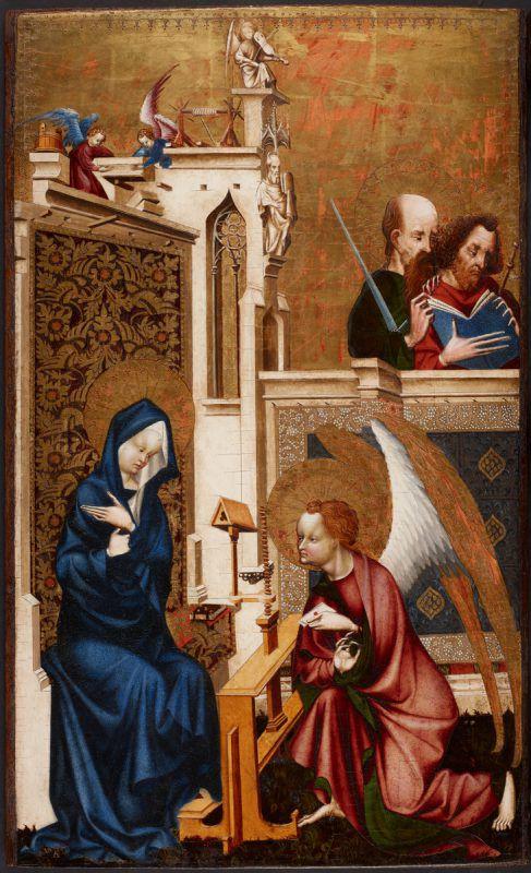 """""""Verkündigung an Maria"""" um 1415/20, Malerei und Polimentvergoldung auf Eichenholz des Meisters von Heiligenkreuz. khm"""