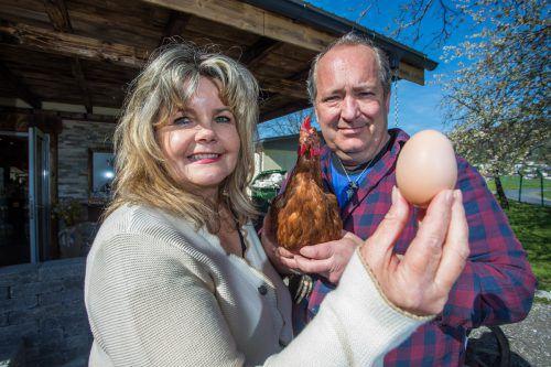 Zu Ostern herrscht Hochbetrieb bei Daniel und Angelika Bell. Die Hennen zeigen sich davon allerdings unbeeindruckt.