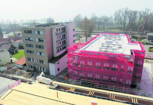 """Zwei der neu errichteten Baukörper im """"Bäumlequartier am See"""". Foto: Rhomberg"""