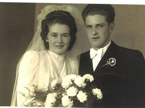 1949 stand das schöne Paar vor dem Traualtar.