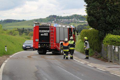Auch die Feuerwehr rückte zum Unfallort an einem Waldrand in Hohenweiler an. vol.at/Rauch