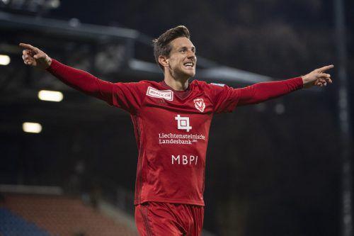 Beim FC Vaduz kann Manuel Sutter auch wieder jubeln.Michael Zanghellini