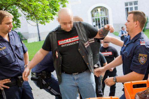 Blood and Honour-Mitglieder bei einem Mordprozess am Landesgericht Feldkirch. VN/Steurer