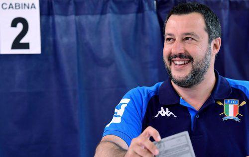 Der Lega von Innenminister Matteo Salvini erhielt Prognosen zufolge zwischen 27 und 31 Prozent.