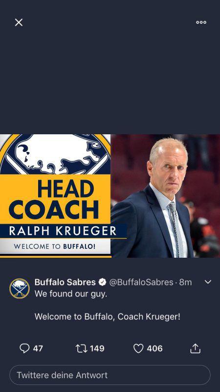 Die Buffalo Sabres begrüßen Ralph Krueger als neuen Headcoach.ap