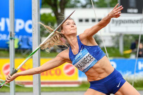 Die Lettin Laura Ikauniece schaffte als Zweite zum dritten Mal in Folge den Sprung auf das Siegerpodest beim Hypomeeting in Götzis.