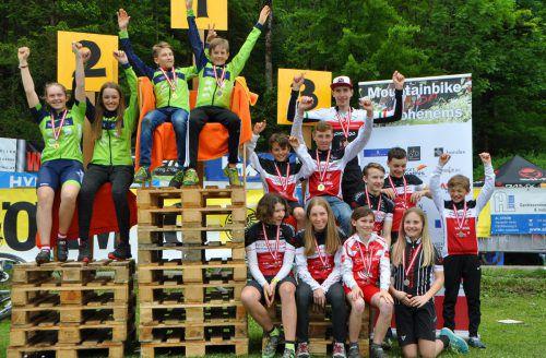 Die Medaillengewinner bei der MTB-Landesmeisterschaft in Hohenems-Schwefel.Veranstalter